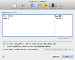 Preferenze Backup iTunes
